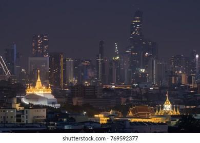 Golden Pagoda or known as Golden Mountain temple, The most tourist destination landmark in Bangkok Thailand