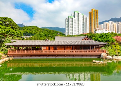 Golden pagoda of Nan lian garden in Hong Kong city.