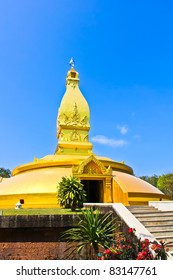 Golden pagoda in the northeast of Thailand