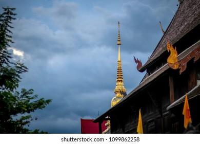 golden pagoda on cloudysky