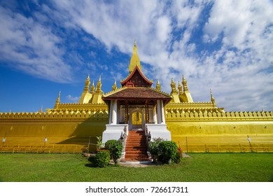 Golden pagoda of Pha That Luang, a Buddhist temple in Vientiane, Laos