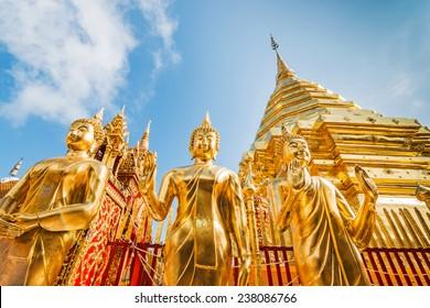 Golden pagoda at Wat Phra That Doi Suthep, Chiang Mai, Thailand.