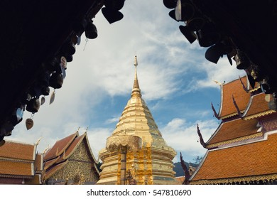 Golden pagoda at Wat Phra That Doi Suthep, Chiang Mai, Popular historical temple for traveling attraction in Thailand.