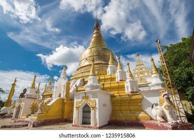 Golden pagodas on Sagaing hill Sagaing City near Mandalay city,Myanmar,Asia.