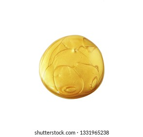 Golden paint of volume stain.  Gold round background isolated on white. Golden circle shape template.