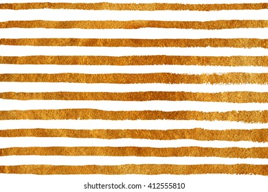 Golden painted grunge stripe pattern. Gold and white brush strokes background. Hand drawn stripes pattern. Pattern with golden stripes on white background. Golden shining texture. Gold paint.