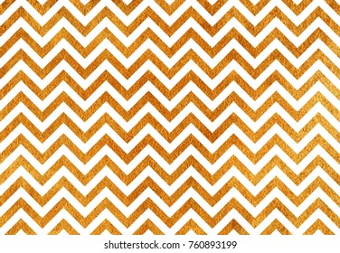 Golden painted stripes background, chevron. Golden shining texture. Gold paint