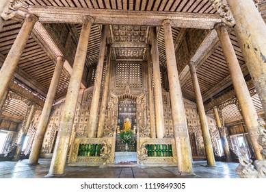 Golden palace monastery, Shwenandaw Monastery. The monastery is built entirely of teak wood. Mandalay, Myanmar (Burma) .21 Apr. 2018.