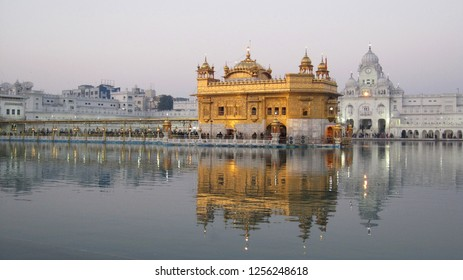 Golden Palace (or Darbar Sahib or  Sri Harmandir Sahib) in the city Amritsar, Punjab, India. The holiest Gurdwara and the most important pilgrimage site of Sikhism.
