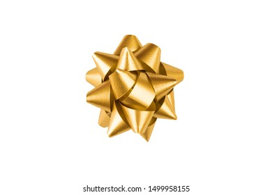 Golden paper holiday bow over white isolated background. Single object. Mockup. Top view. Decoration for present