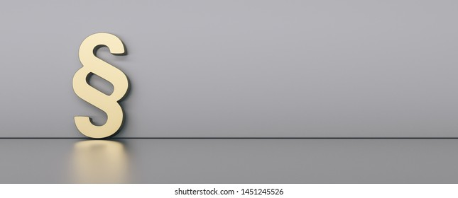 golden paragraph sign on gray background with empty space on right side. Symbol of Law and Justice
