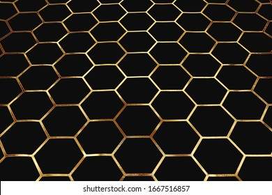 Golden pattern of cells and pentagons on dark background