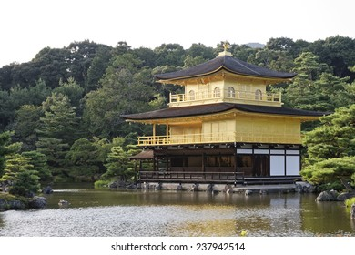 The Golden Pavilion in the Deer Garden Temple outside of Kyoto Japan