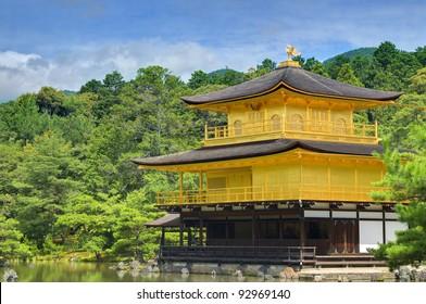 The Golden Pavilion (Kinkaku-ji) in Kyoto, Japan is a landmark Zen Buddhist Temple.