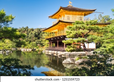 The Golden Pavilion or Kinkaku-ji Temple and the beautiful surounding Japanese Zen Garden, in the morning with reflections in the water, Kyoto, Japan