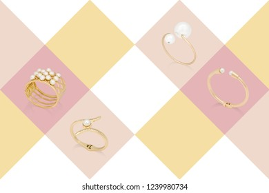 Golden and pearl bracelets on colorful background