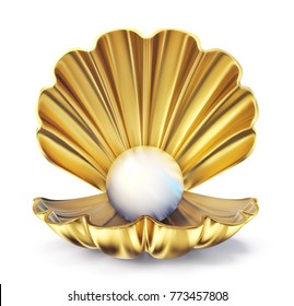 golden pearl shell  isolated on a white. 3d illustration