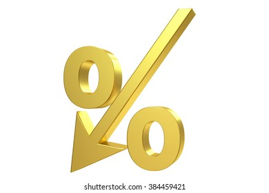 Golden percent sign isolated on white background