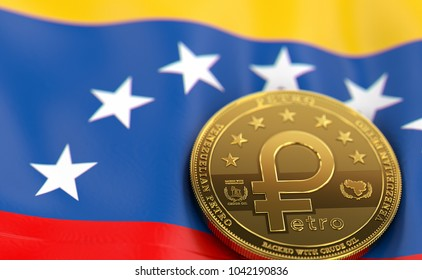 Golden Petro concept coin on Venezuelan flag. Petro - the cryptocurrency of Venezuela concept. 3D Rendering