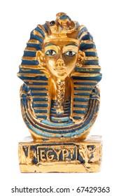 Golden pharaoh bust isolated on white