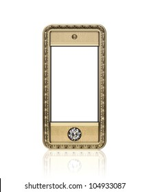 Golden phone with  blank touch screen and the diamond button for VIP  isolated on white background (front version)