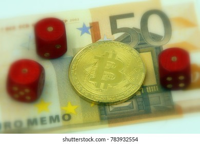 Golden physical bitcoin cryptocurrency and 3 pairs with 1 dice symbolizing the concept gambling and loss by investing in cryptocurrencies, against a 50 Euro banknote (selective focus).