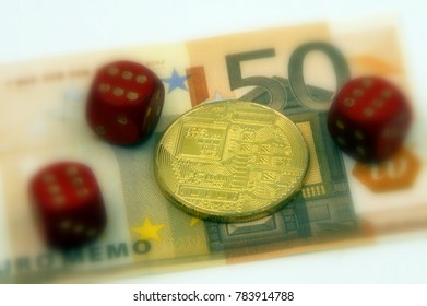 Golden physical cryptocurrency and 3 pairs with 6 dice symbolizing the concept gambling and winning by investing in cryptocurrencies, against a 50 Euro banknote (selective focus).