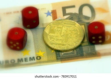Golden physical cryptocurrency and 3 pairs with 1 dice symbolizing the concept gambling and loss by investing in cryptocurrencies, against a 50 Euro banknote (selective focus).