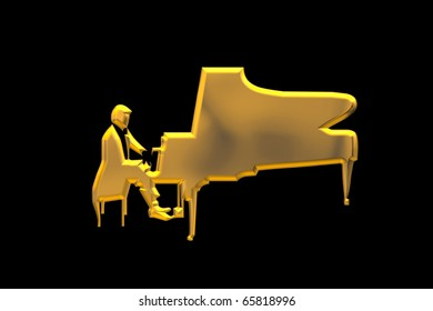 Golden piano player