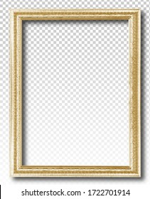 Golden picture frame isolated on transparent background