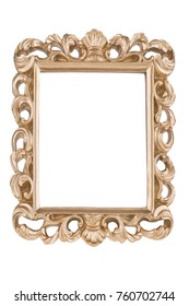 Golden picture frame, isolated on white background.