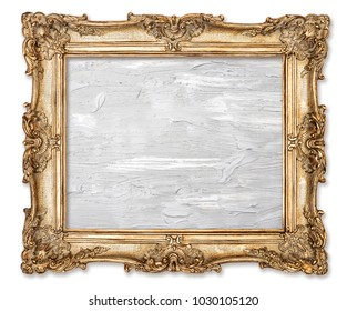 Golden picture frame with oil painted canvas isolated on white background. Baroque frame
