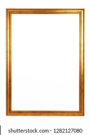 Golden picture frame on white background. Vintage baroque style object.