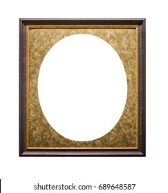 golden picture frame with oval passepartout isolated on white background