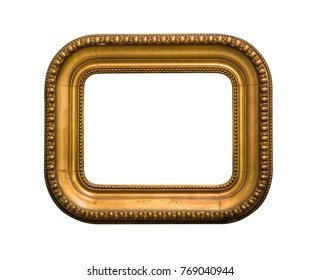golden picture frame rectangle with round corners isolated on white background