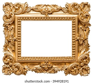 Golden picture frame. Vintage object isolated on white background