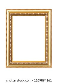 Golden picture photo frame isolated on white background