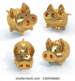 The Golden pig, funny piglet, a symbol of the Chinese new year, 3d illustration