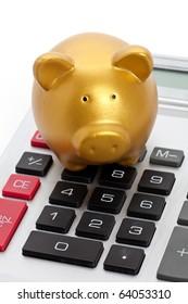 Golden Piggy Bank and Calculator, Finance concept