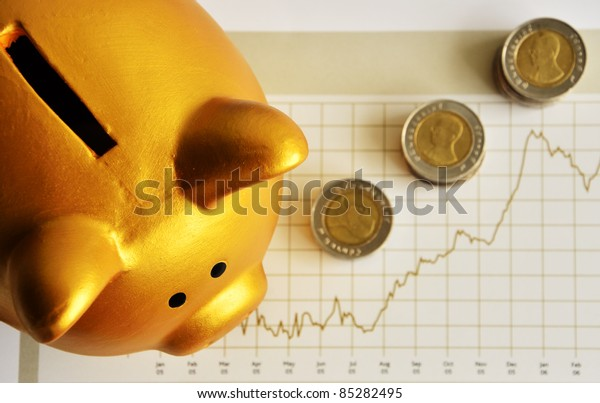 Golden Piggy Bank and Monthly Financial Report
