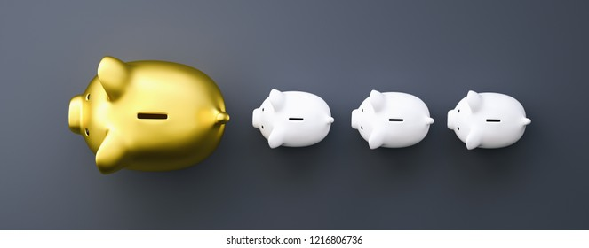 golden piggy bank as row leader, investment and development conc