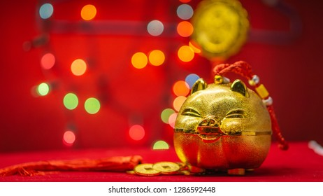 golden pigs on a red background. Happy chinese new year 2019.