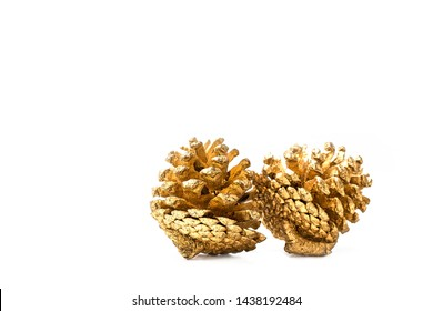 Golden pine cone isolated on white background for Christmas decorative.