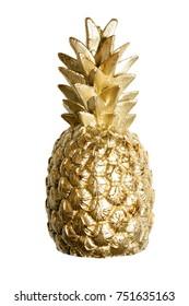 Golden pineapple isolated