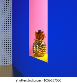 golden pineapple in the wall. colorful abstract background. 3d rendering