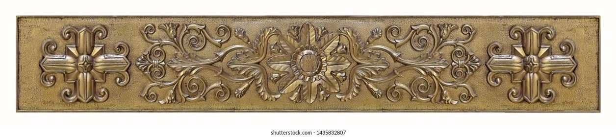 Golden plate with floral ornament isolated on white background