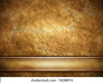 golden plate on grunge background
