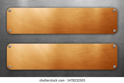 Golden plates with rivets on metal background