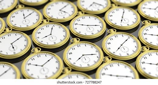 Golden pocket watches background. 3d illustration