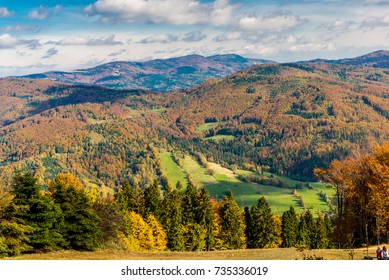 Golden Polish Autumn in the Beskidy Mountains. View from Czantoria